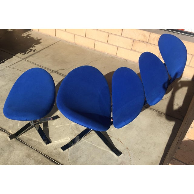 Mid-Century Modern Mid Century Modern Blue Pedal Corona Style Chair & Ottoman For Sale - Image 3 of 7