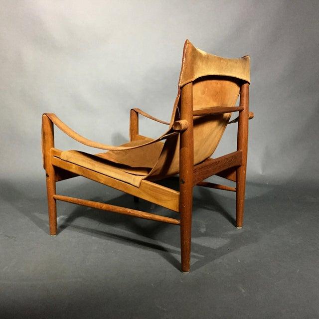 "Hans Olsen 1960s Scandinavian Modern Hans Olsen ""Antilop"" Suede and Oak Safari Chair For Sale - Image 4 of 12"
