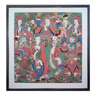 Antique Korean Temple Painting, Choson Dynasty For Sale
