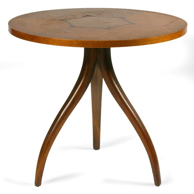 Mid-Century Modern Drexel Inlaid Topped Tripod Gueridon Table For Sale - Image 3 of 7