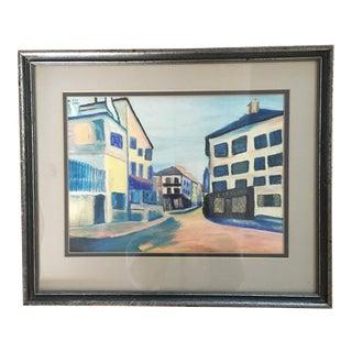Vintage Pastel Cityscape Framed Art For Sale