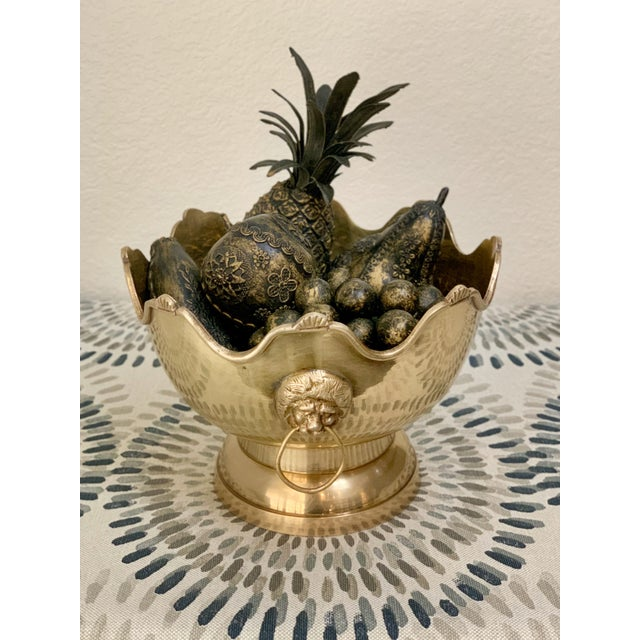 Vintage Brass Fruit Bowl With Decorative Fruits For Sale - Image 4 of 8