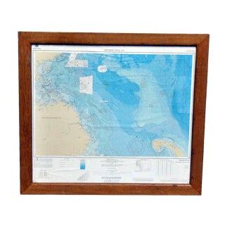 Bathymetric Framed Massachusetts Fishing Map For Sale
