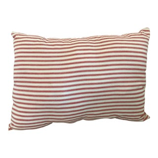 Vintage Handmade Red Striped Pillow For Sale