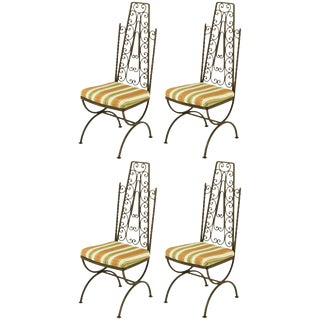Four Spanish Revival Wrought Iron Filigree Dining Chairs For Sale