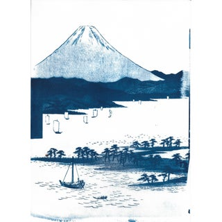 Mt. Fuji, Japanese Landscape, Cyanotype Print on Watercolor Paper, A4 Size (Limited Edition) For Sale