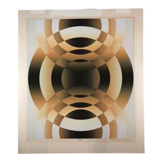 "1980s Original Mark Rowland ""Way"" Op Art Serigraph Screen Print For Sale"
