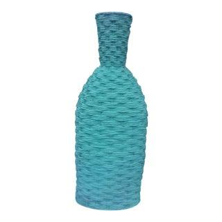 "44"" Tall 1980s Vintage Aqua Wicker Vase For Sale"