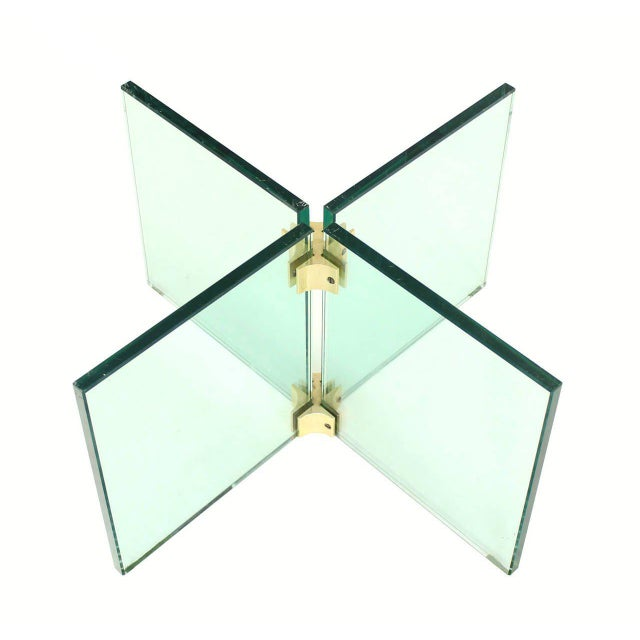 Glass X Cross Base & Marble Top Coffee Table For Sale - Image 4 of 6