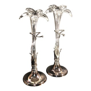 Vintage Hollywood Glam Tall Lillie Hand Blown Glass & Silver Vases - A Pair For Sale