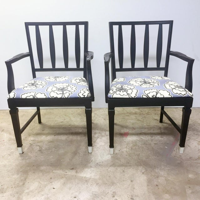 Vintage Black and Lavender Chairs - A Pair - Image 2 of 8