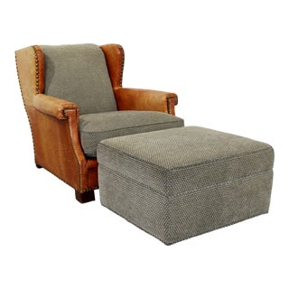 Contemporary Modern Ralph Lauren Studded Leather & Fabric Club Chair & Ottoman - 2 Pieces For Sale