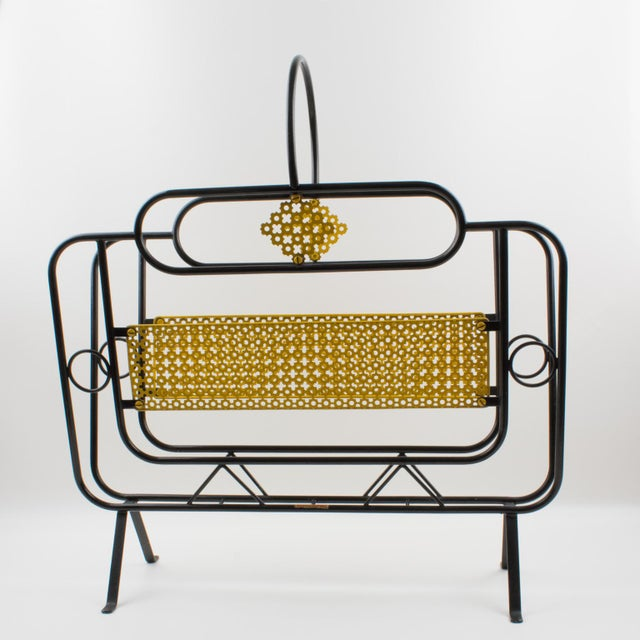 Mathieu Mategot Style Metal Magazine Holder Rack For Sale - Image 9 of 13