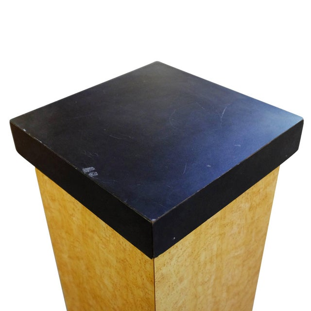 Art Deco Bird's-Eye Maple Pedestal With Black Top For Sale - Image 4 of 5