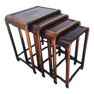 Early 20th Century Hand Carved Mahogany Chinese Nesting Tables For Sale