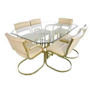 Hollywood Regency Glass Dining Set For Sale