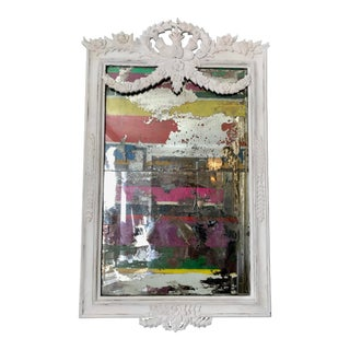 Reverse Painted Strie Mirror in Plaster Finish For Sale