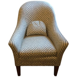 Stunning Grey and White Chevron Upholstered Club Chair For Sale