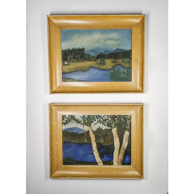 Mid 20th Century Charming Antique Oil Landscapes With Wood Frames. Pair of 2 For Sale - Image 5 of 5