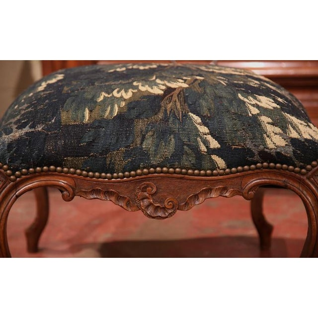 Textile 18th Century French Louis XV Walnut Square Stool With Aubusson Tapestry For Sale - Image 7 of 9