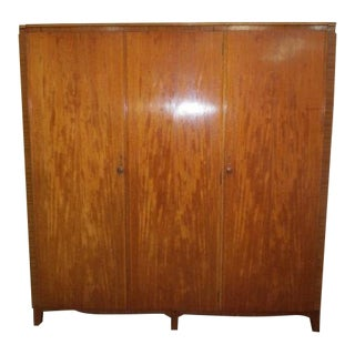 C.1950's Three Door Ribbon Mahogany Armoire For Sale