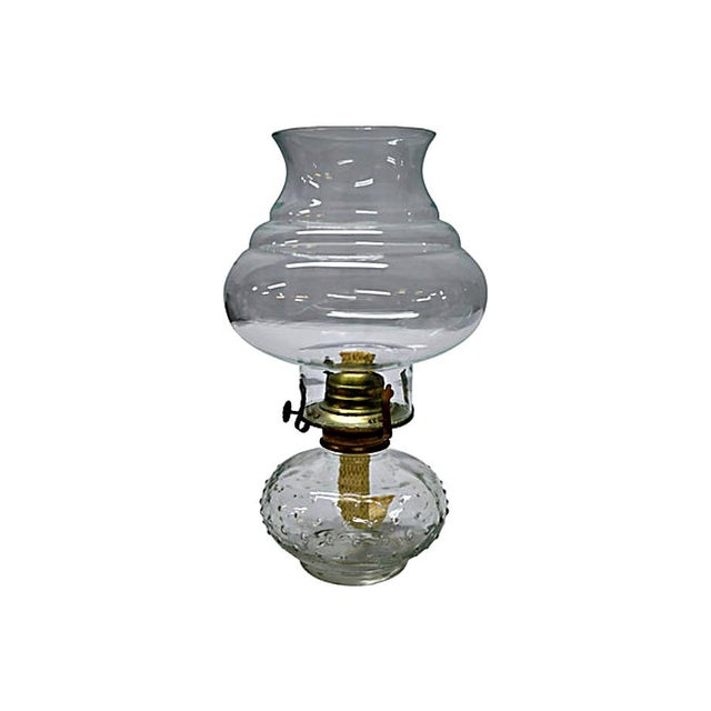 Vintage Clear Glass Oil Lamp For Sale - Image 4 of 5