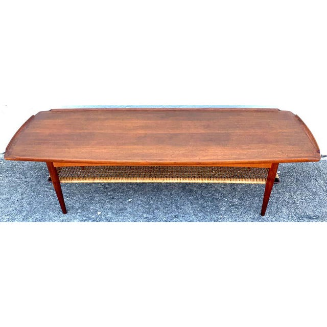Ib-Kofod Larsen, Two-Tier Teak Surfboard Coffee Table With Caned Shelf For Sale - Image 9 of 10