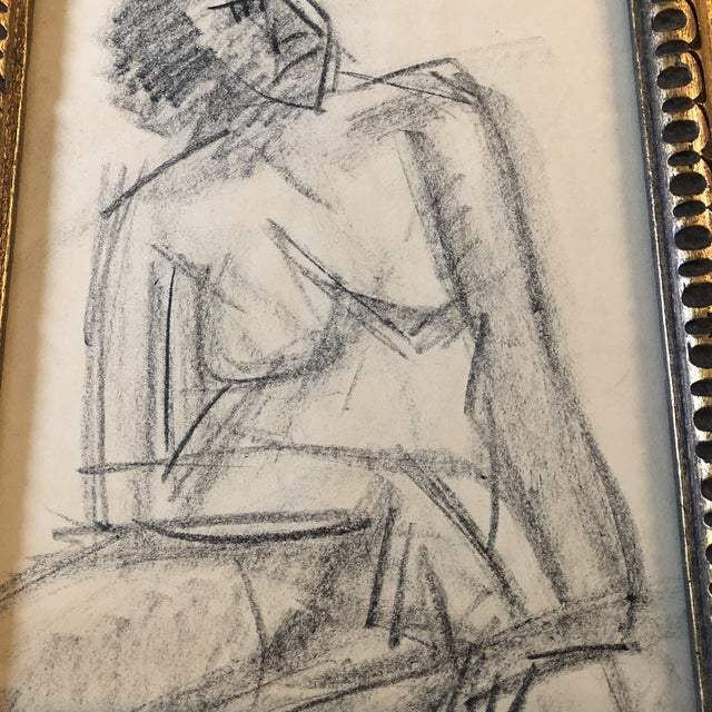 Abstract Expressionism Original Charcoal Vintage Female Nude Study Sketch For Sale - Image 3 of 7