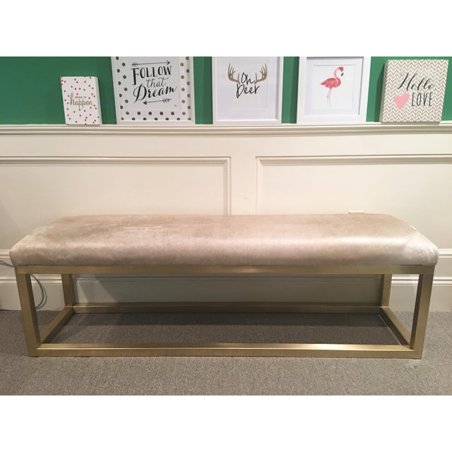 Taylor Burke Home Brass Champagne Cowhide Kelly Bench - Image 2 of 4