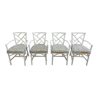 Chippendale Rattan Arm Chairs - Set of 4