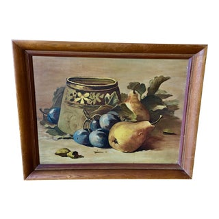 1948 Vintage Lillian Cody Large Still Life Oil Painting For Sale