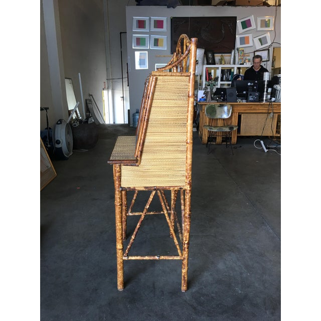 Tan Aesthetic Movement Restored Tiger Bamboo Secretary Desk For Sale - Image 8 of 10