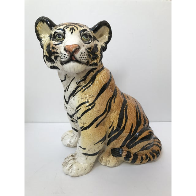Hand Painted Italian Ceramic Tiger - Image 2 of 9