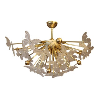 Half Sputnik Chandelier With Murano Glass Butterflies For Sale