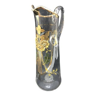 1900 Art Nouveau Italian Hand Painted Glass Jug For Sale