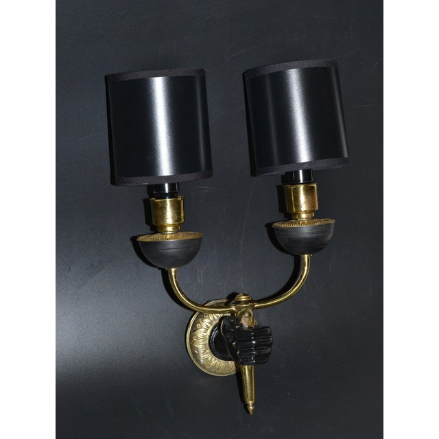 Metal André Arbus Bronze & Black Hand Two-Arm Sconce Wall Light Neoclassical - Pair For Sale - Image 7 of 13