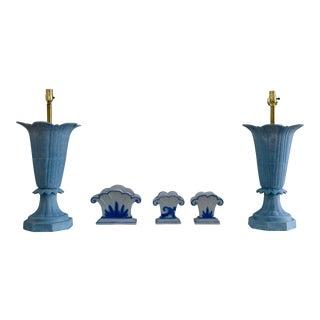 Vintage Antique Powder Blue Iron Lamps - a Pair For Sale