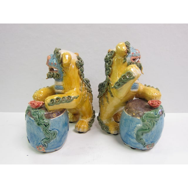 Vintage Bright Colored Foo Dogs With Drums - Pair - Image 5 of 6