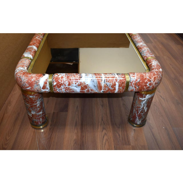 1970s 1970s Tommaso Barbi Ceramic Coffee Table With Mirror Top For Sale - Image 5 of 13