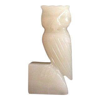 """Carved Alabaster Owl 6"""" Figure"""