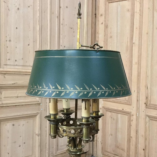 1920s Antique French Art Deco Period Bronze Bouillote Lamp With Shade For Sale - Image 5 of 11