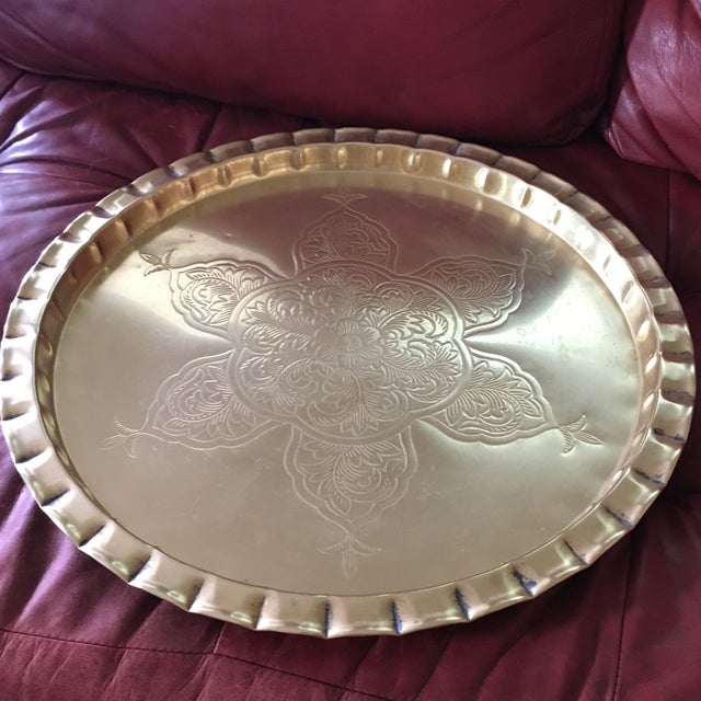 Gold Vintage Round Bohemian Mid-Century Brass Tray For Sale - Image 8 of 11