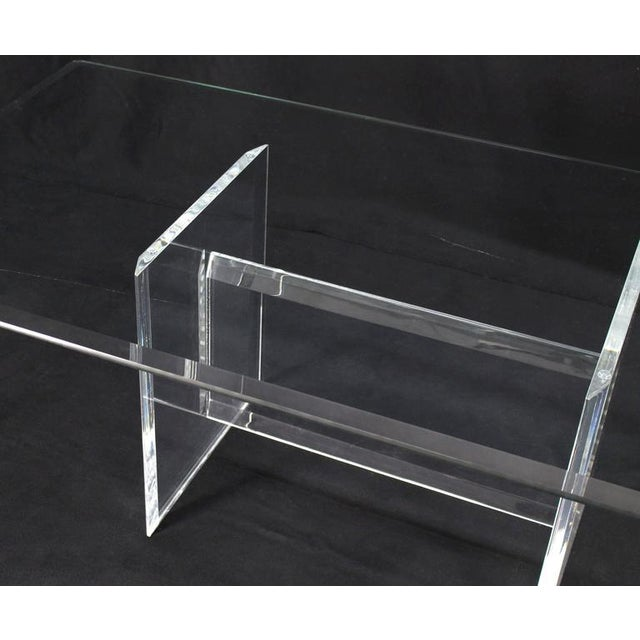 Early 20th Century Lucite Base Glass Top Rectangular Coffee Table For Sale - Image 5 of 7