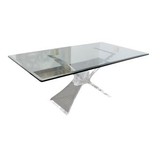 Lion in Frost Mid Century Hollywood Regency Lucite and Glass Butterfly Dining Table For Sale