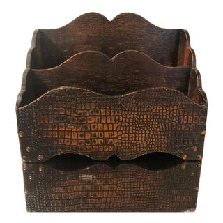 3 Tier Snakeskin Desk Organizer 1940's For Sale