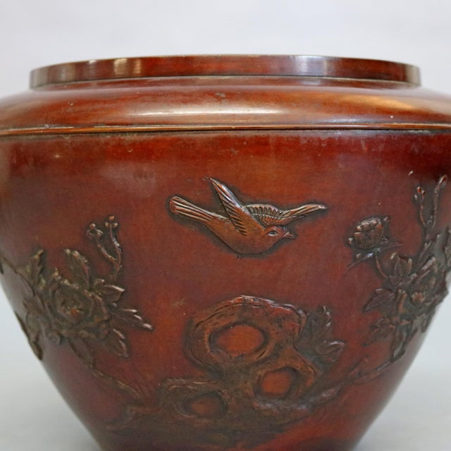 Japanese Antique Japanese Embossed Bronze Jardinière with Garden Scene, circa 1920 For Sale - Image 3 of 11
