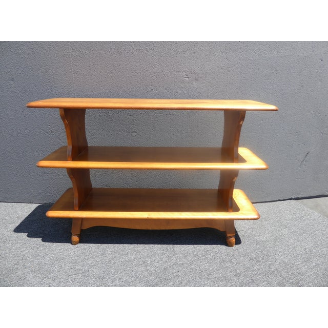 Vintage Mid-Century Modern 3 Tier Maple Bookcase For Sale In Los Angeles - Image 6 of 11