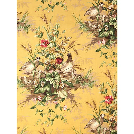 Sample, Scalamandre Edwin'S Covey Fabric, Multi on Mustard For Sale