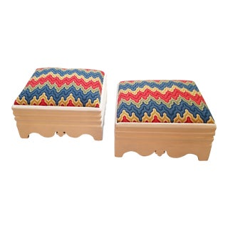 White Victorian Footstools With Colorful Handmade Flamestitch Needlework Covers - a Pair For Sale