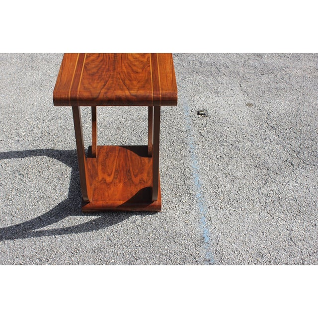 1940s Art Deco Exotic Walnut Side Table For Sale - Image 9 of 12